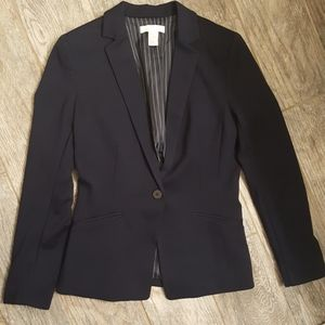 H&M Navy Blue Fitted Single Button Blazer